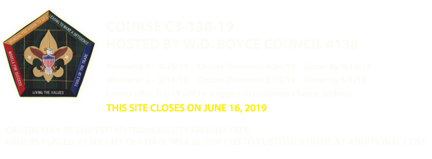 W.D. Boyce Council #138 - Wood Badge Apparel Web Store